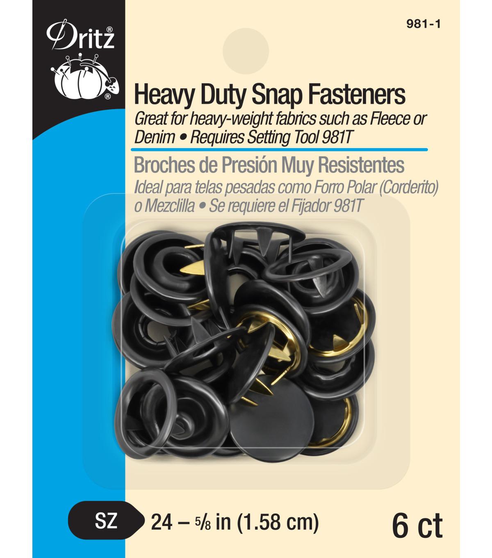 Heavy Duty Snap Fasteners 5/8'' 6/Pkg-Black   JOANN