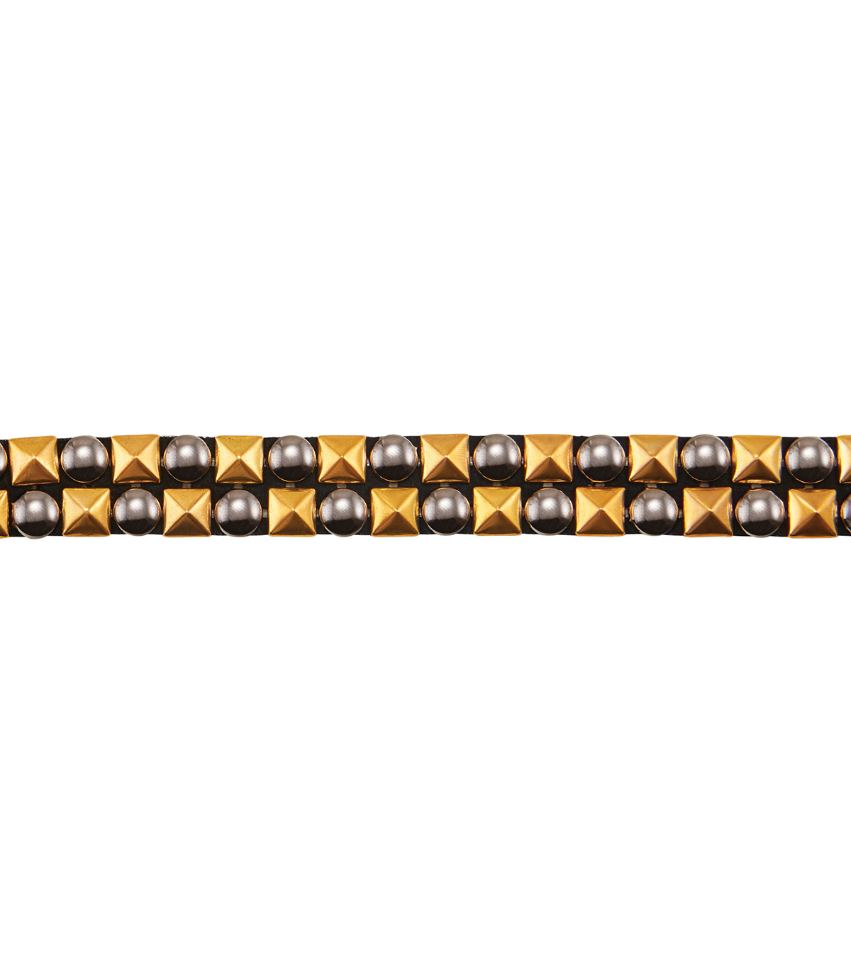 Yaya Han Collection Gold/Pewter Two-row  Studded Trim