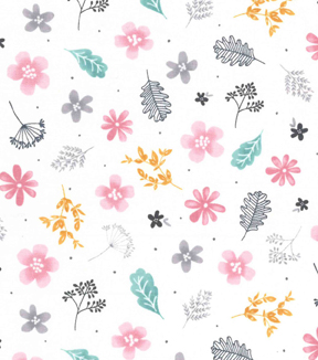 Premium Cotton Fabric 43\u0027\u0027-Astrid Garden Tossed on White