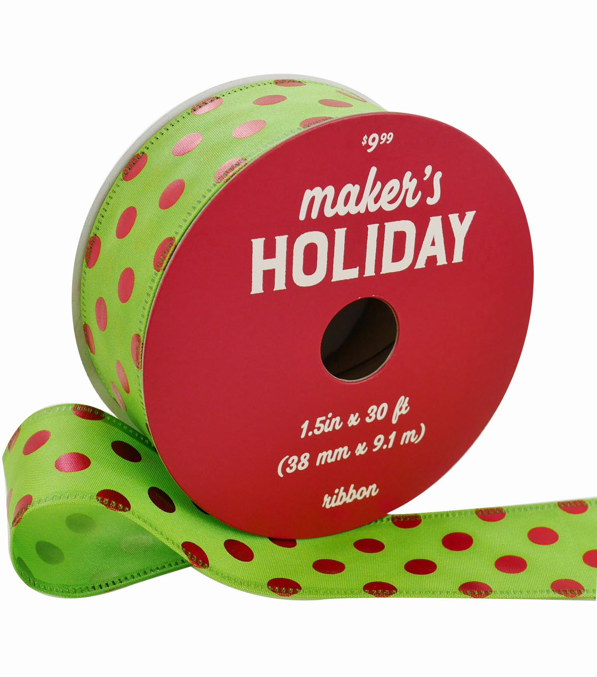 Maker\u0027s Holiday Christmas Ribbon 1.5\u0027\u0027x30\u0027-Red Foil Dots on Green