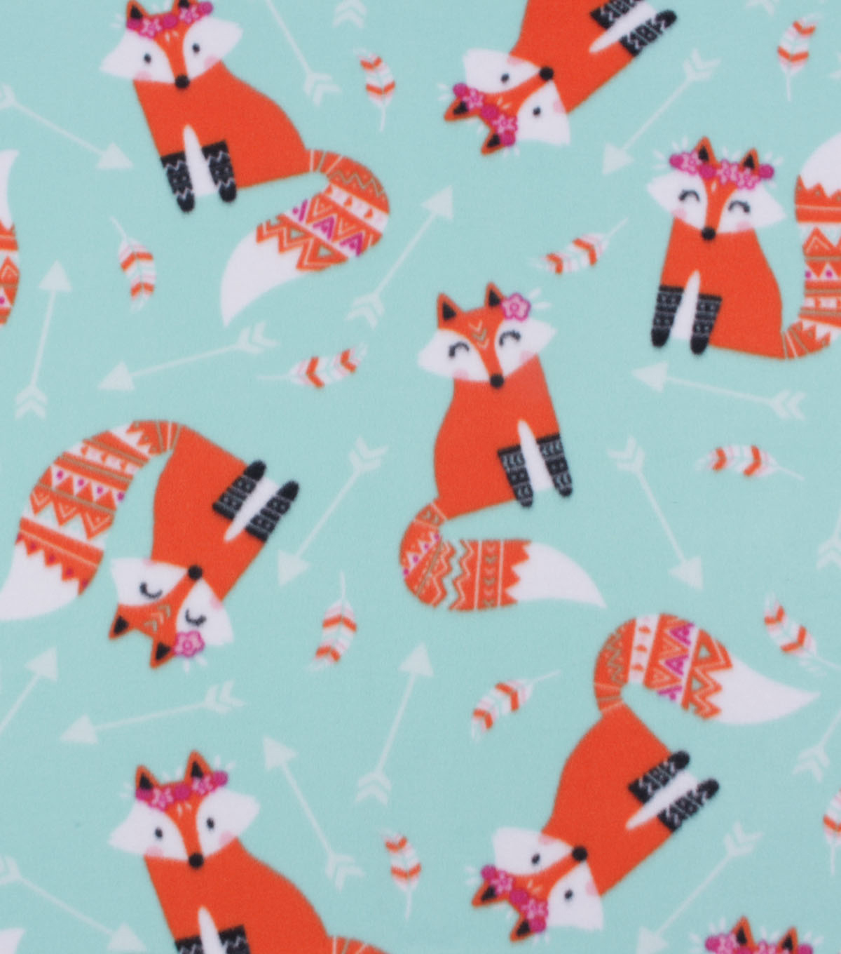 Blizzard Fleece Fabric-Tossed Floral Fox