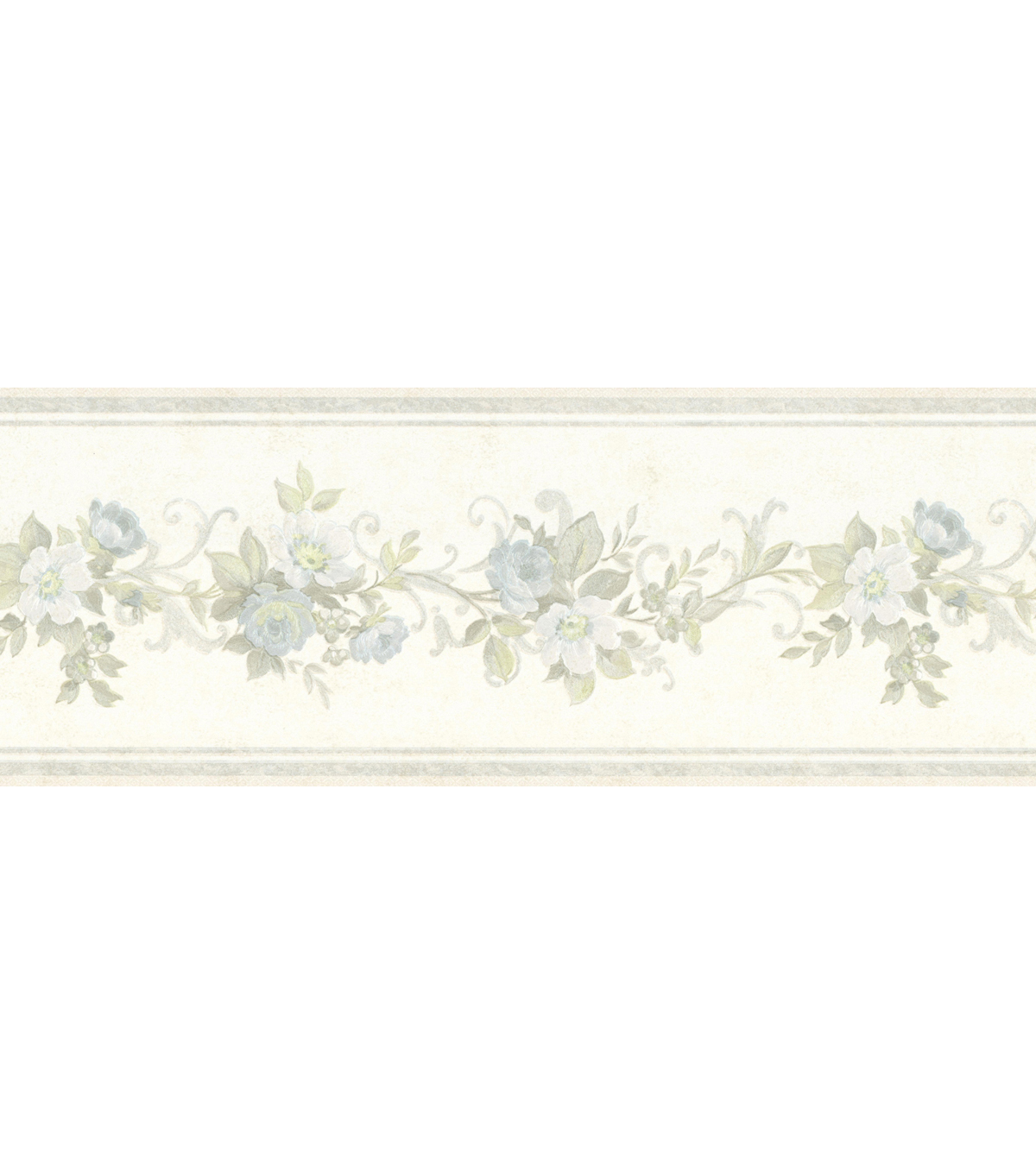 Lory Light Blue Floral Wallpaper Border Sample