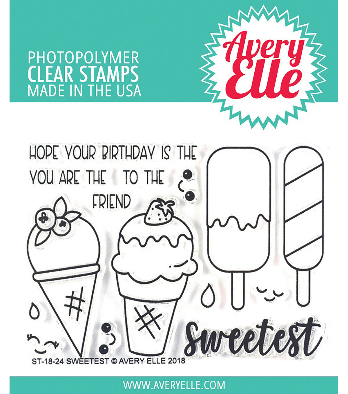 Avery Elle 15 pk Photopolymer Clear Stamps-Sweetest