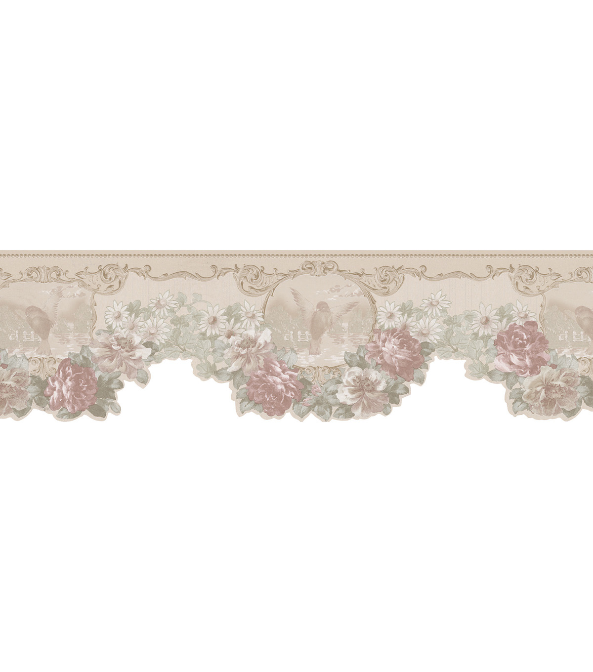 Bird Cameo Floral Swag Die-Cut  Wallpaper Border, Green Sample