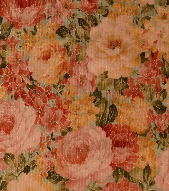 Vintage Premium Cotton Fabric 44\'\'-Metallic Packed Garden on Teal ...