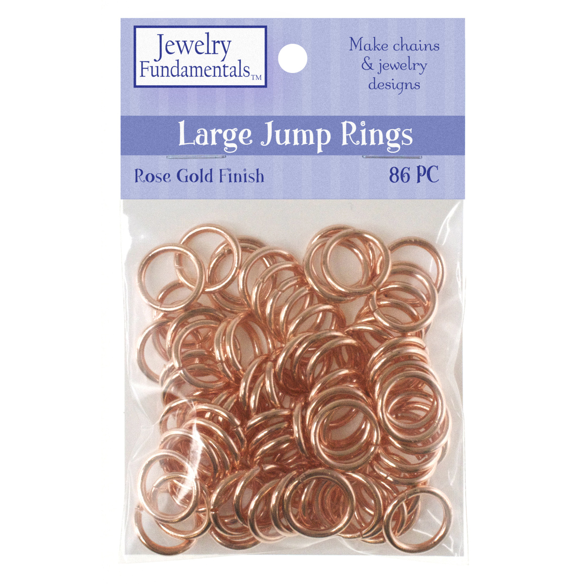 Jewelry Fundamentals Large Jump Rings-Rose Gold Finish