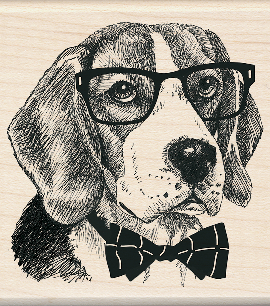 Inkadinkado 3\u0027\u0027x3\u0027\u0027 Wood Mounted Rubber Stamp-Nerdy Dog
