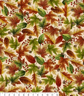 Harvest Cotton Fabric -Watercolor Leaves