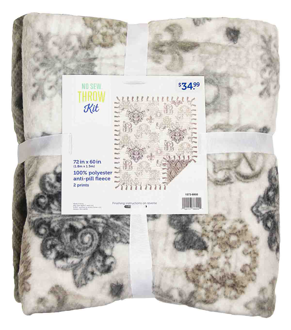 No Sew Fleece Throw 72\u0022-Taupe Scroll
