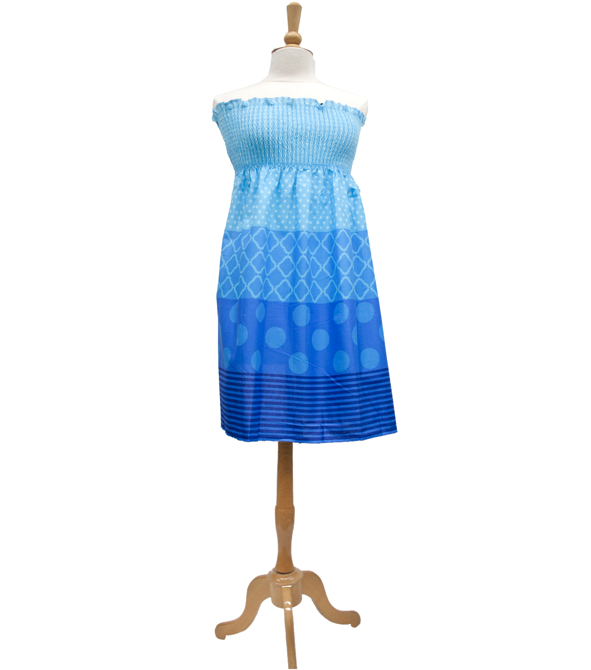 Style In An Instant 30\u0022 Shirred Dress Stripe Dots Blue