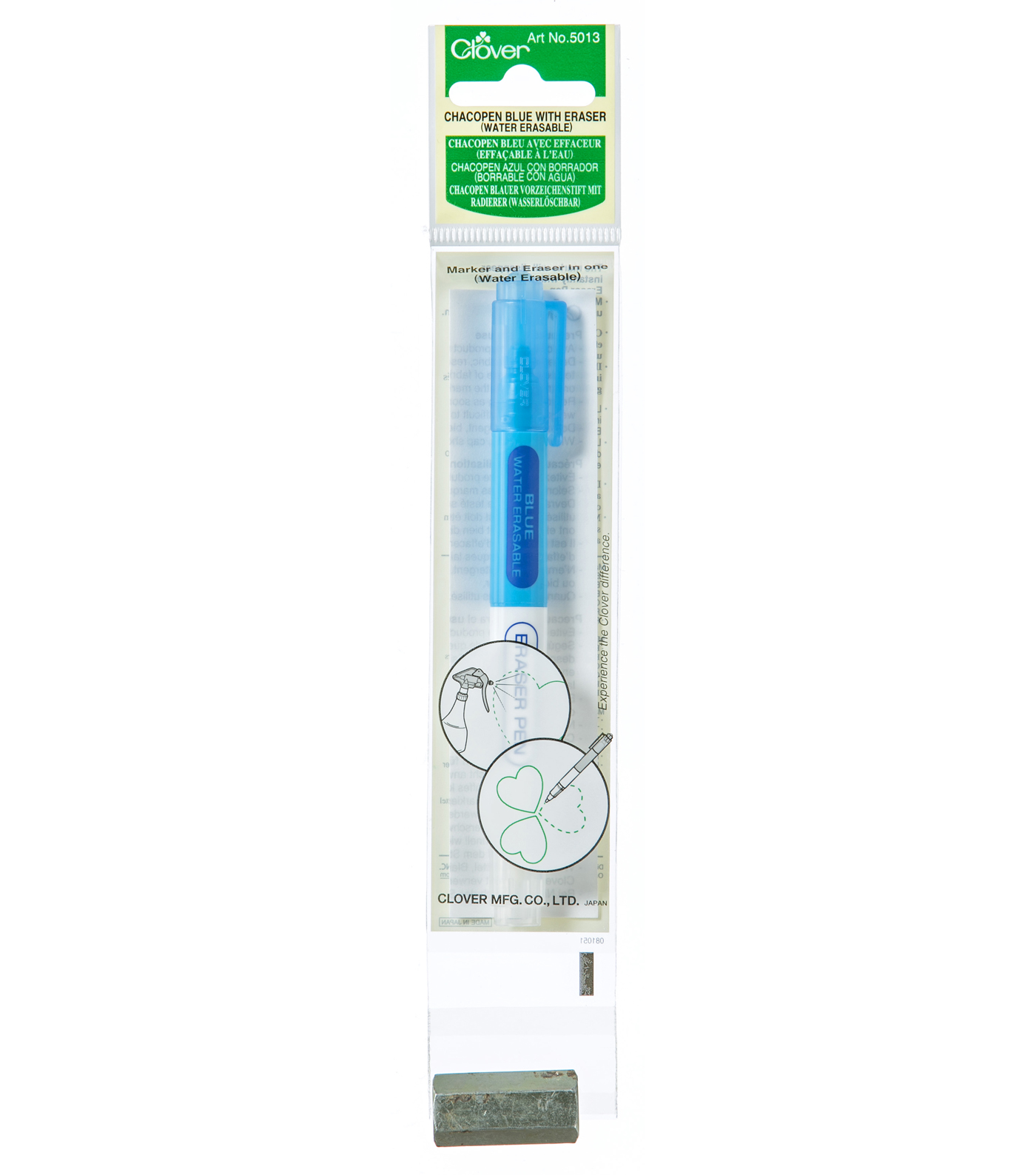 Clover Chacopen Water Soluble Eraser Pen-Blue