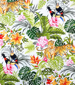 Cotton Shirting Tropical Fabric -Jungle Friends