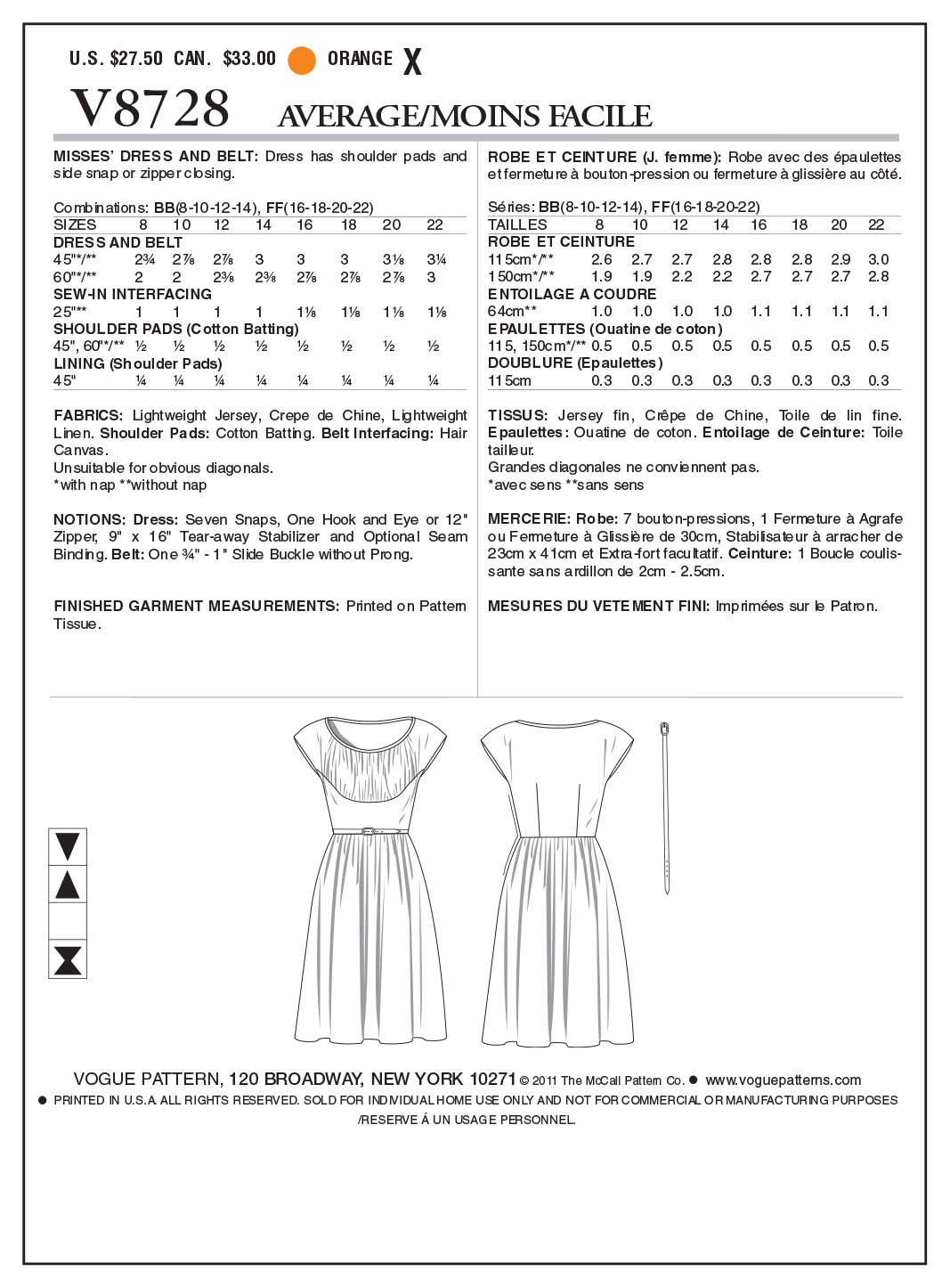 Vogue Patterns Misses Dress-V8728