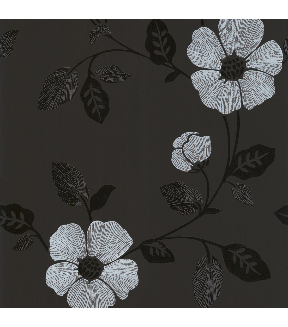 Maddison Black French Floral Wallpaper Sample
