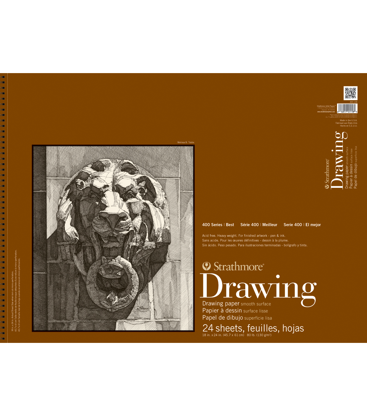 Strathmore Smooth Surface Drawing Paper Pad 18 X24 80lb 24 Sheets