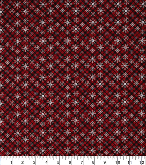 Christmas Cotton Fabric-Star Snowflake Plaid