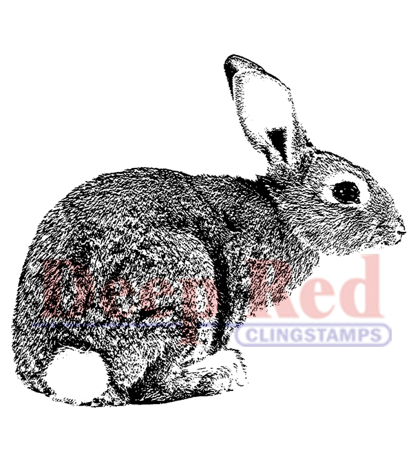 Deep Red Cling Stamp Bunny Rabbit