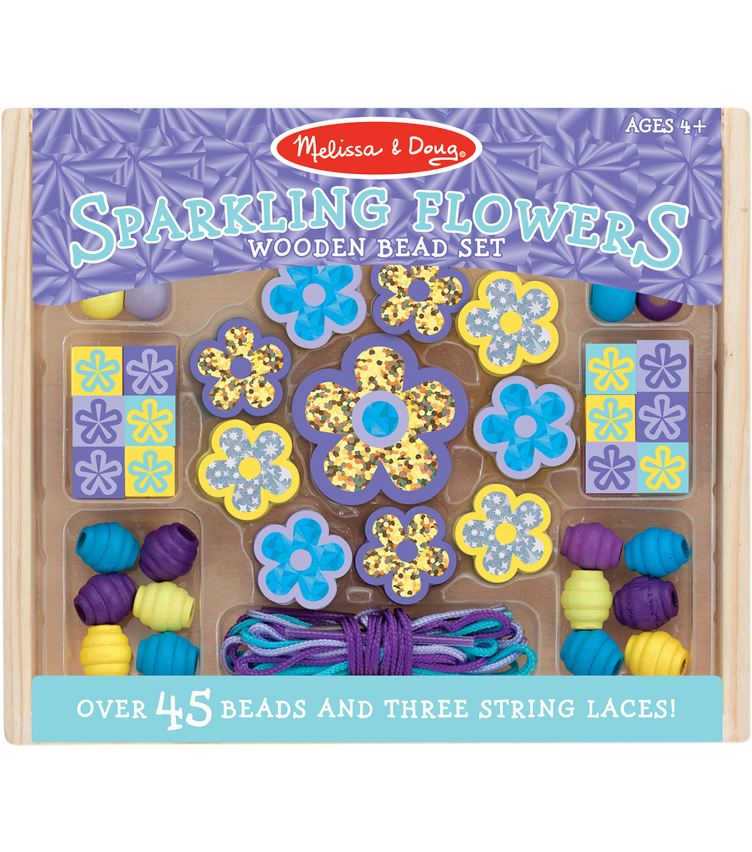 47ce0dbb40f9 Melissa & Doug Sparkling Flowers Wooden Bead Set | JOANN