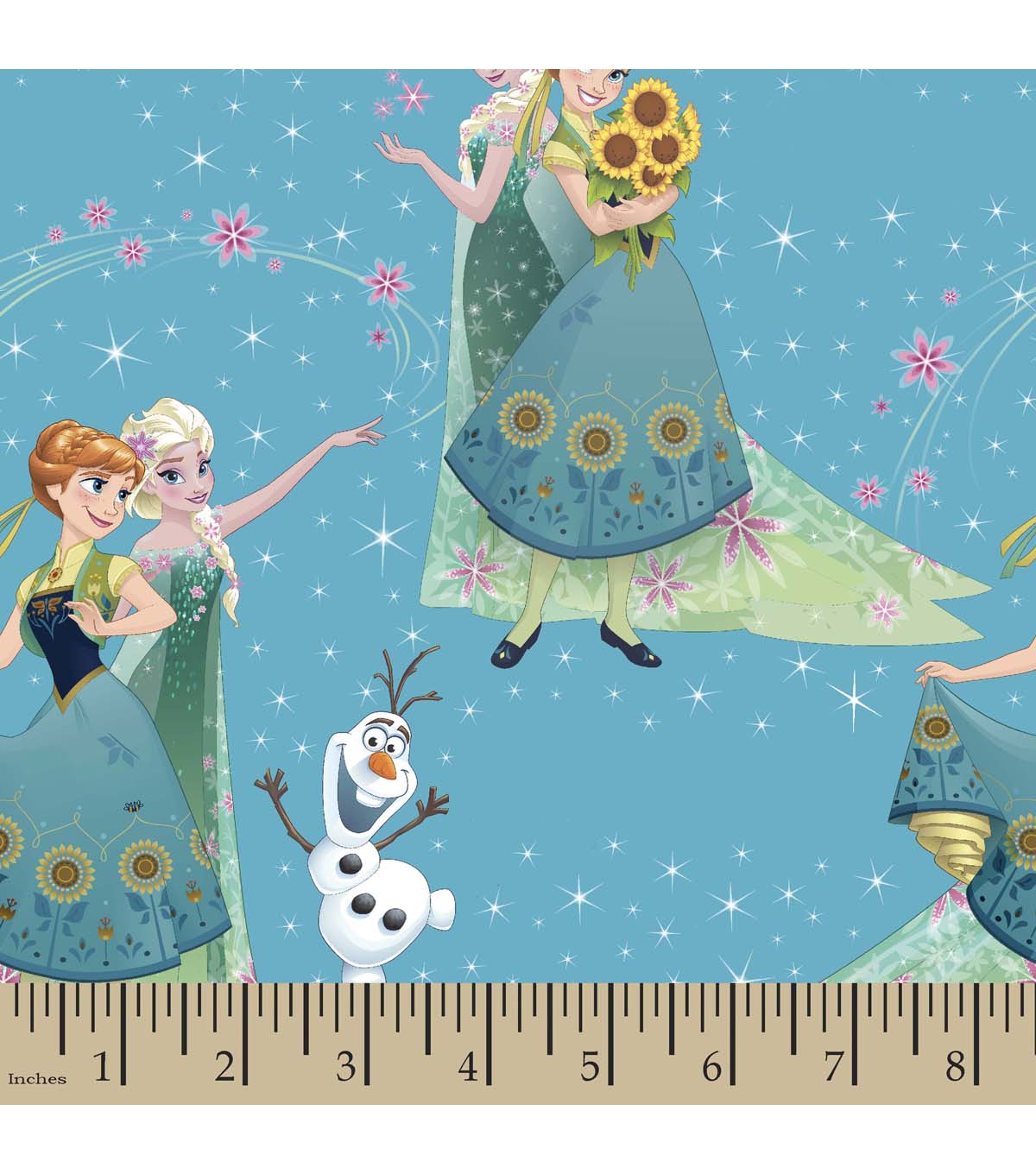 Disney Frozen Print Fabric-Sisters and Olaf