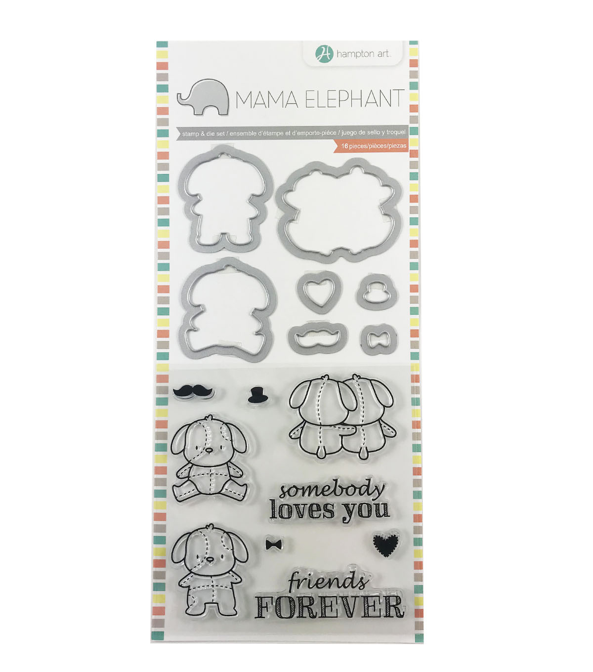 Hampton Art Mama Elephant Clear Stamp & Die Set-Lovey Puppy
