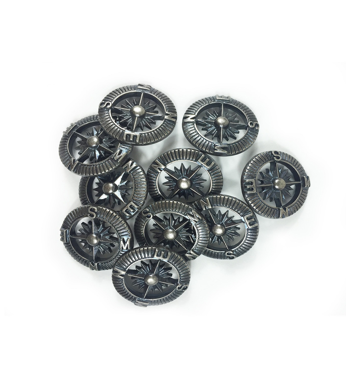 Steampunk Compass Buttons 1\u0022-Antique Silver