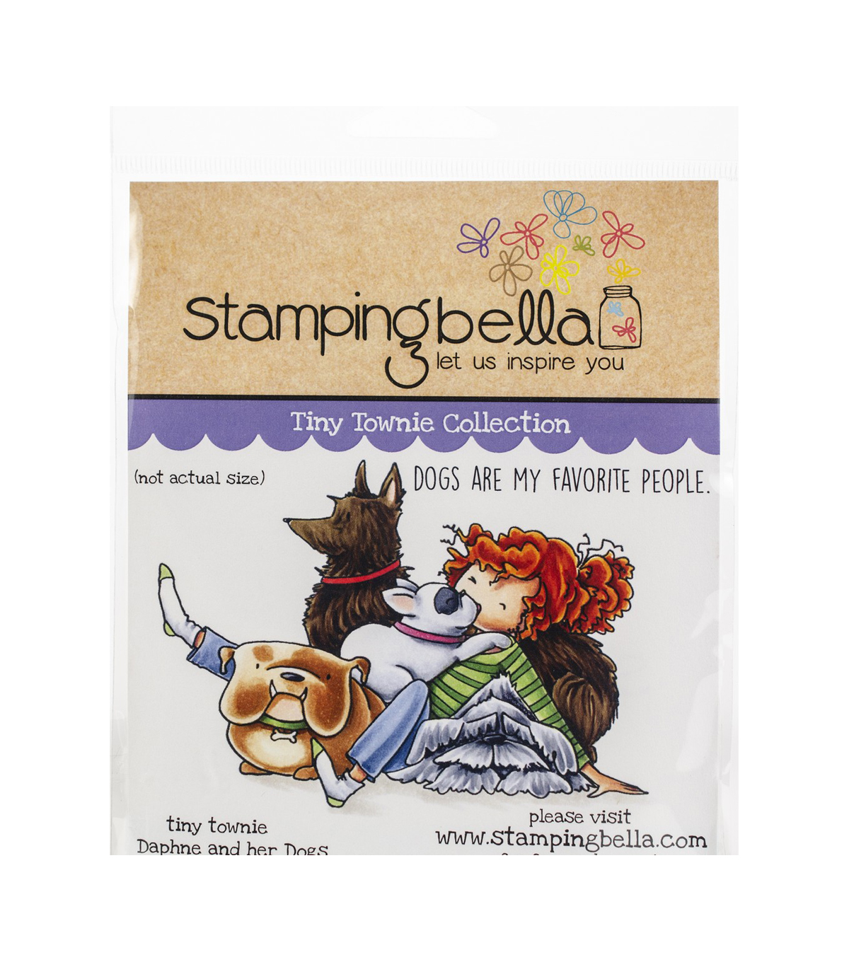 Stamping Bella 2 pk Rubber Cling Stamps-Tiny Townie Daphne & Her Dogs
