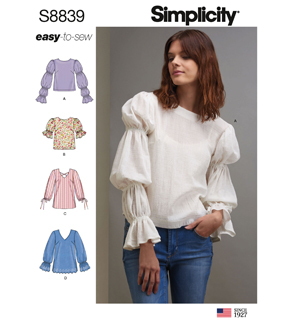 Simplicity Pattern S8839 Misses\u0027 Pullover Tunics & Tops-Size H5 (6-14)