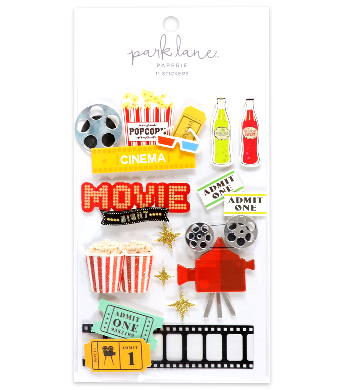 Park Lane 11 pk 3D Stickers-Movie Night