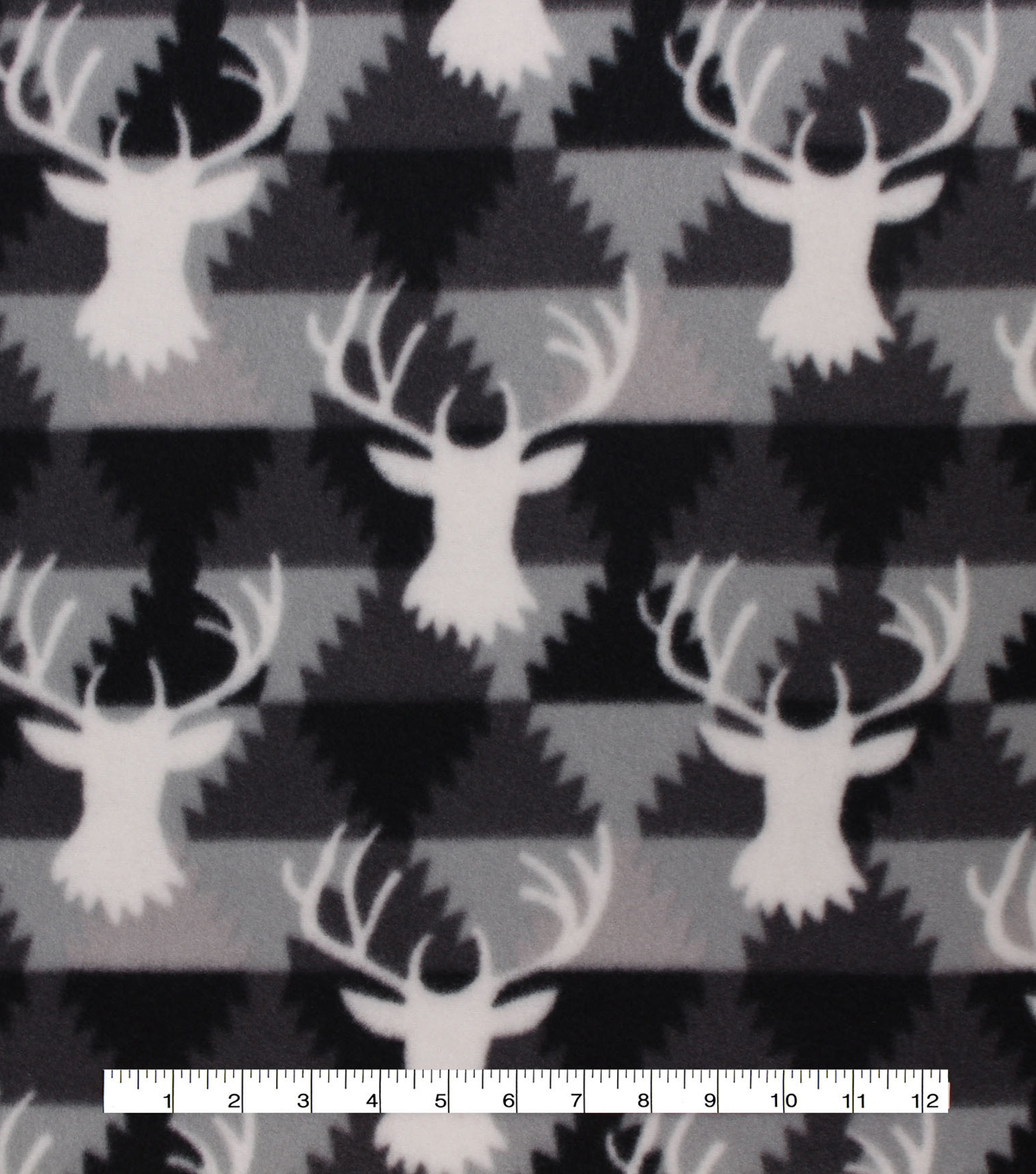 Blizzard Fleece Fabric 59\u0027\u0027-Downtown Stag Head