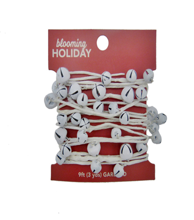 Blooming Holiday Christmas 9\u0027 Jingle Bell Roping Garland-White