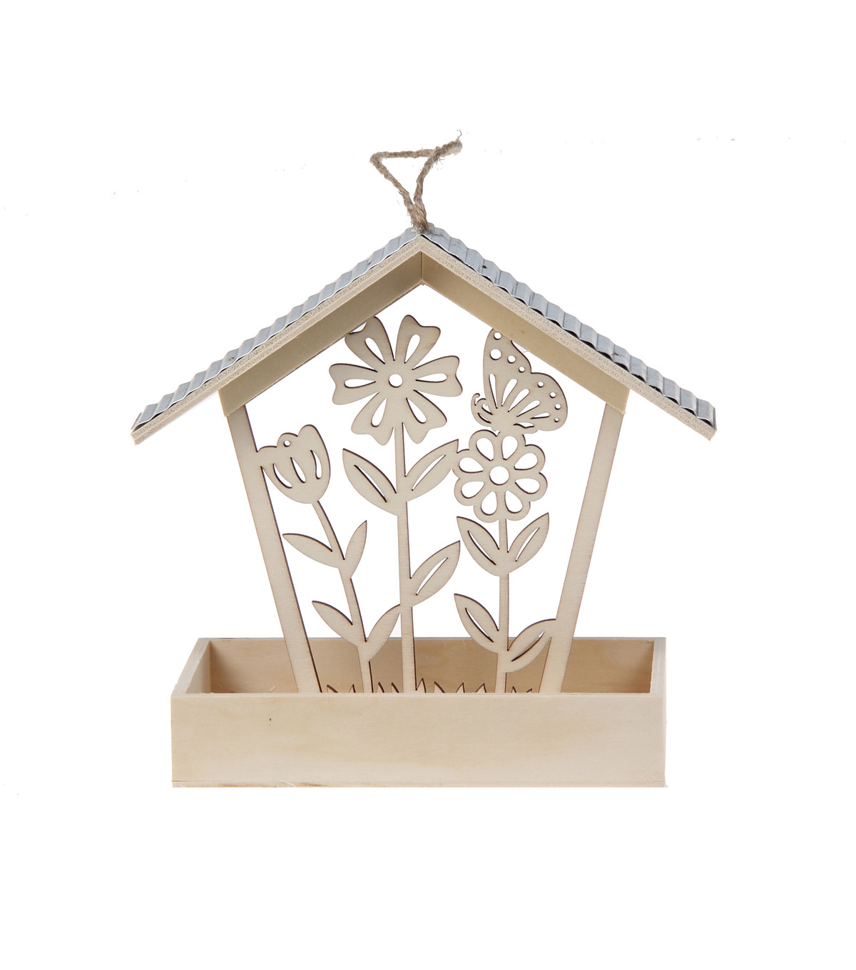 Simply Spring Small Birdhouse Feeder with Laser Cut Flowers & Butterfly