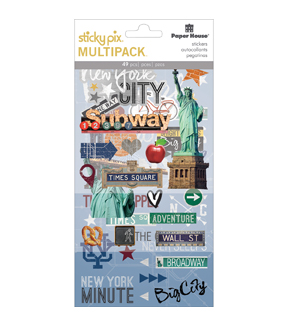 Paper House Sticky Pix Pack of 49 Flip Pack Stickers-New York