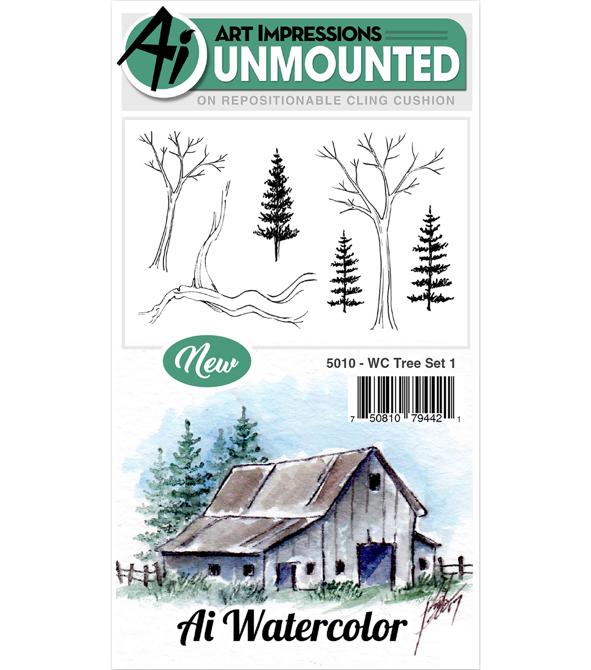Art Impressions 6 pk Cling Rubber Stamps-Watercolor Tree Set 1