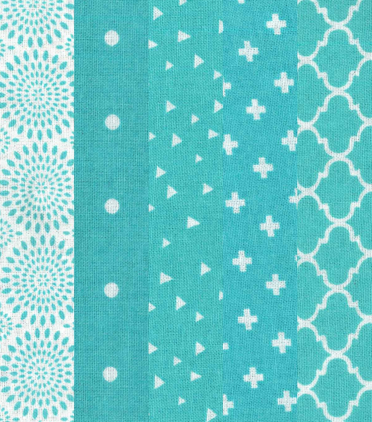 Jelly Roll Cotton Fabric 20 Strips-Assorted Turquoise/White Patterns
