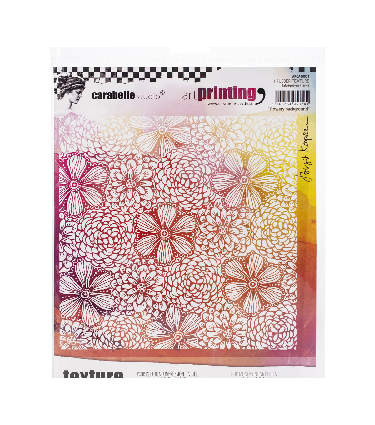 Carabelle Studio Art Printing Square Rubber Texture Plate-Flowers