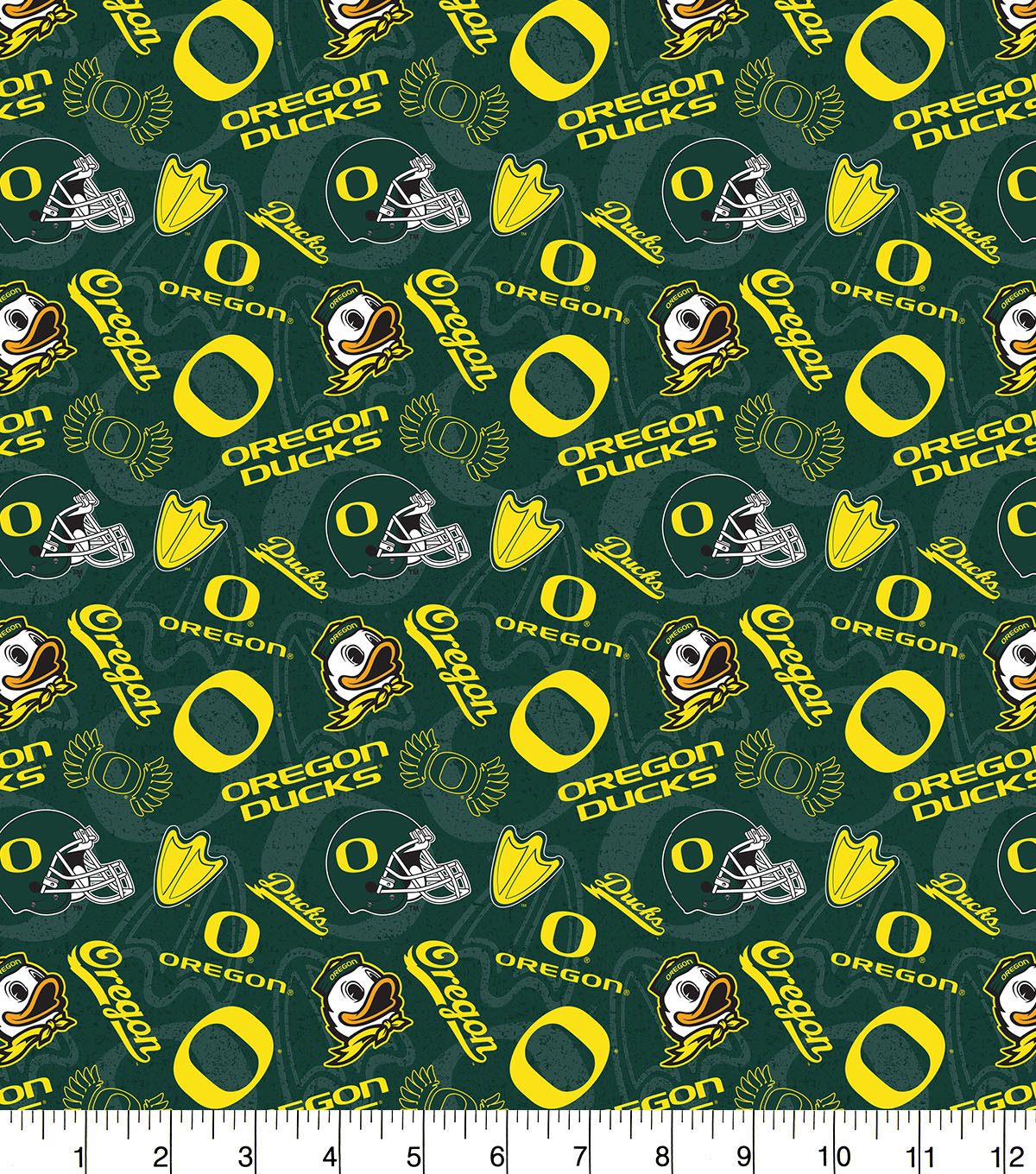 University of Oregon Ducks Cotton Fabric-Tone on Tone