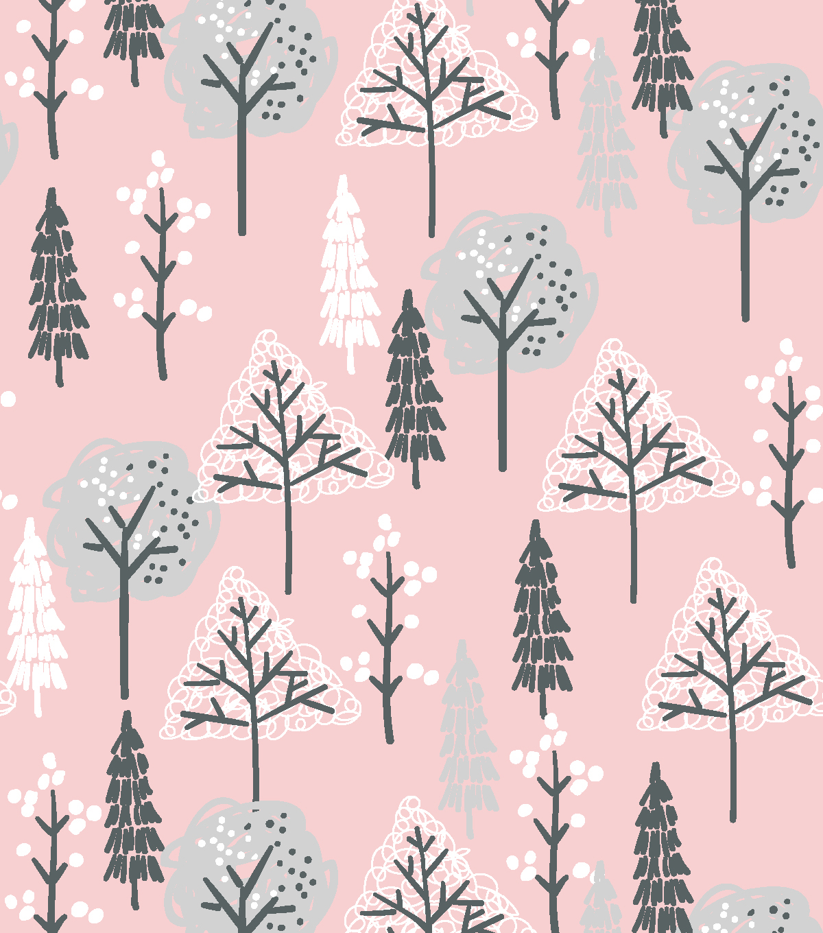 Nursery Flannel Fabric -Wood Pink Trees