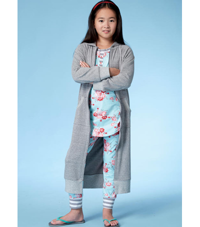 McCall\u0027s Pattern M7499 Girls\u0027 Robe with Hood, Henley Top & Banded Pants