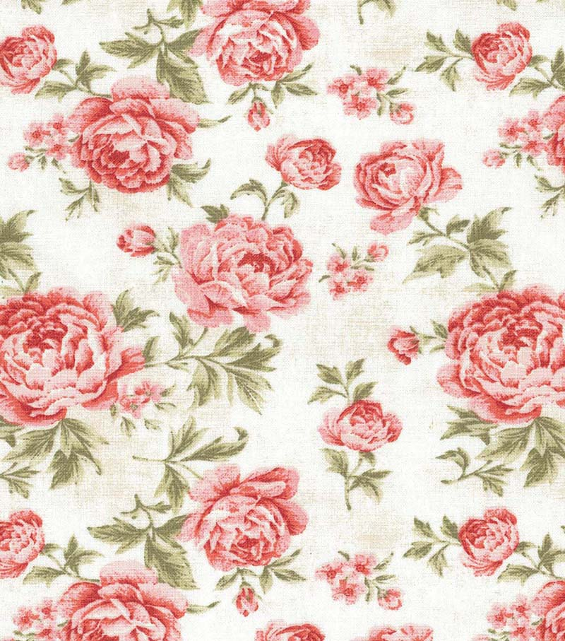 Premium Wide Cotton Fabric 108\u0022-Large Floral Red