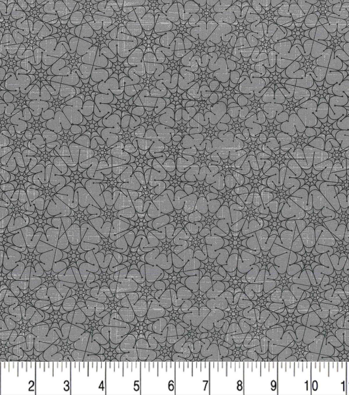 Halloween Cotton Fabric 43\u0022-Gray Linked Spider Webs