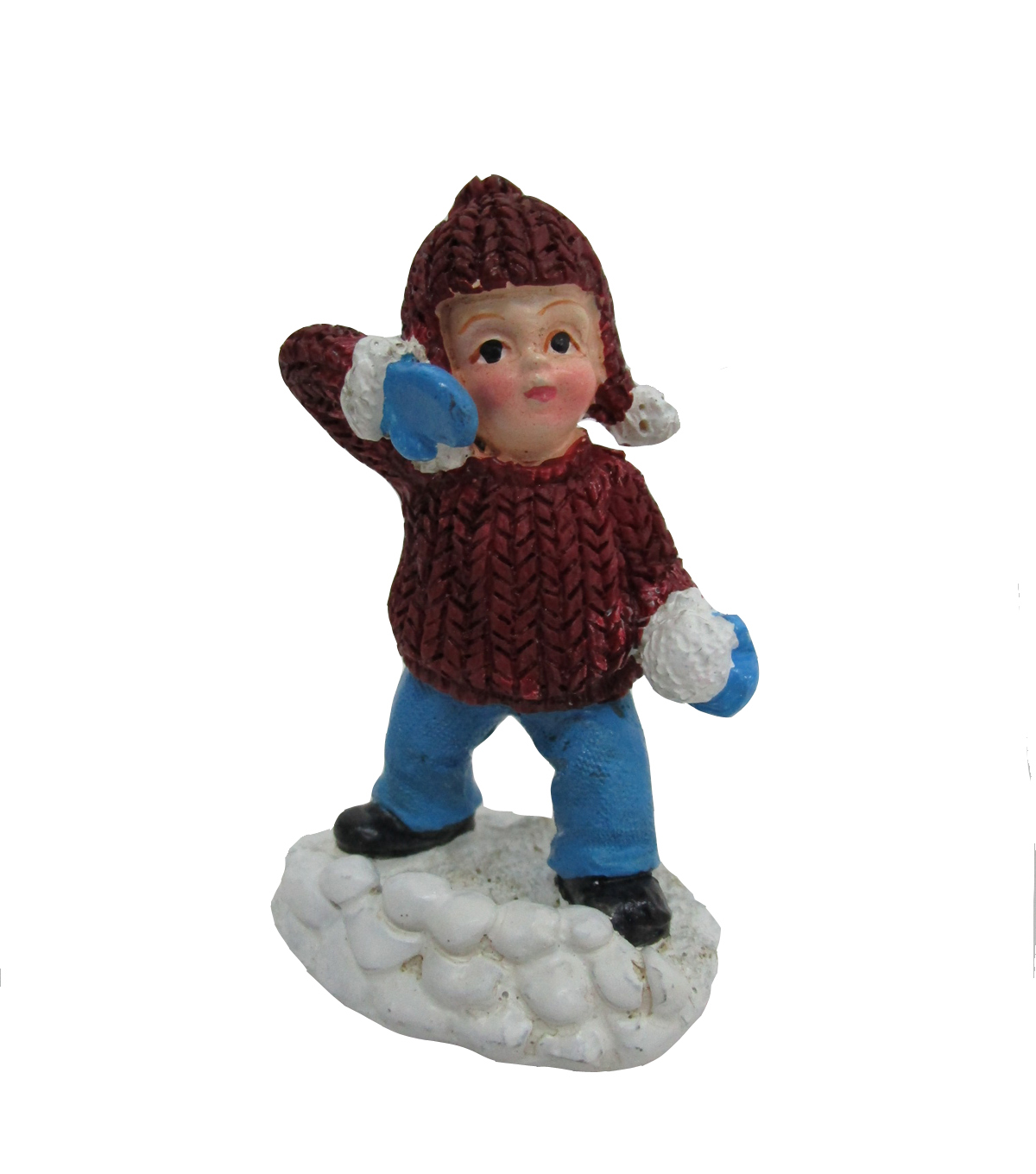 Maker\u0027s Holiday Christmas Littles Boy Throwing Snowball