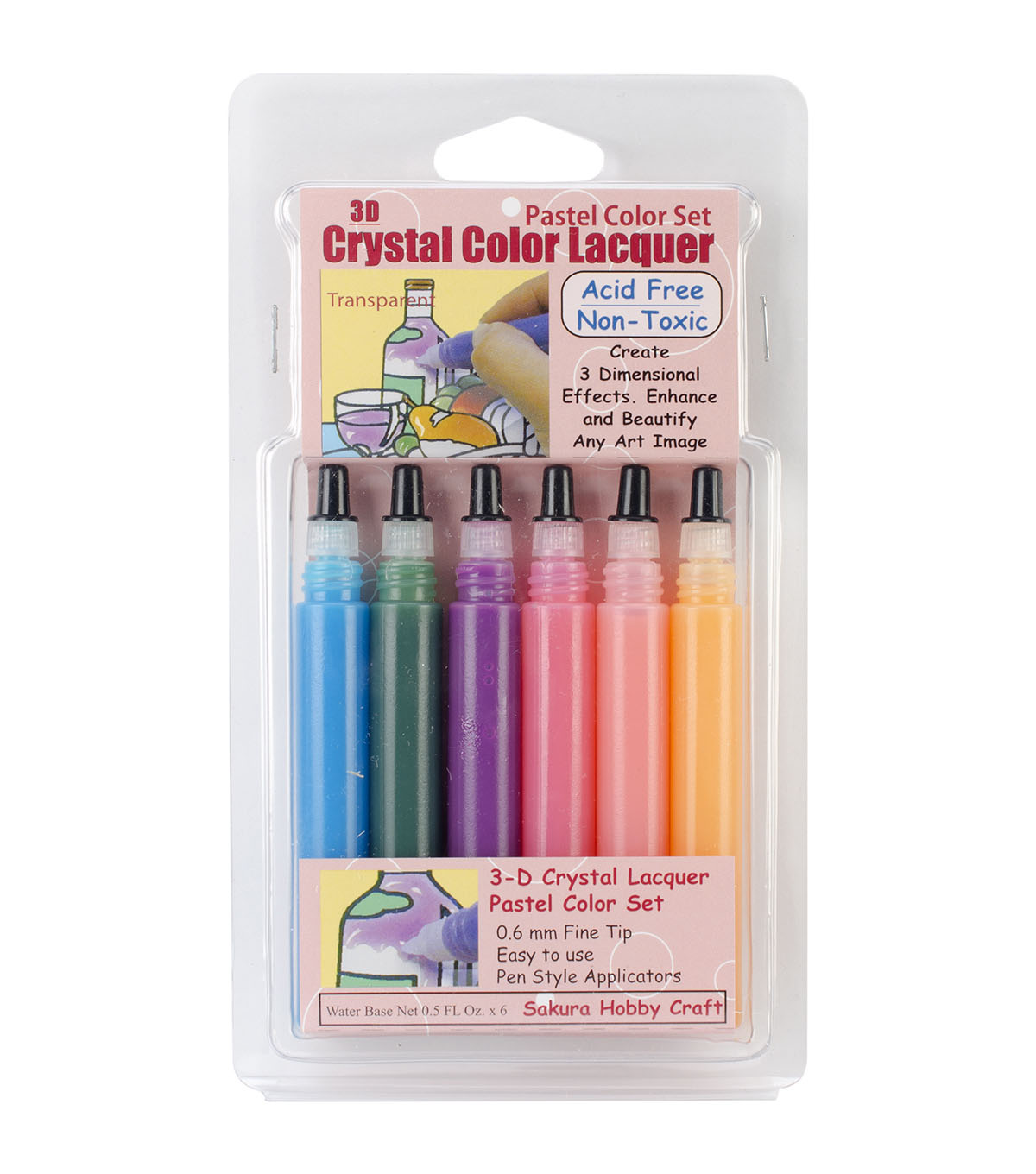 3-D Crystal Lacquer 6 Pack Color Set