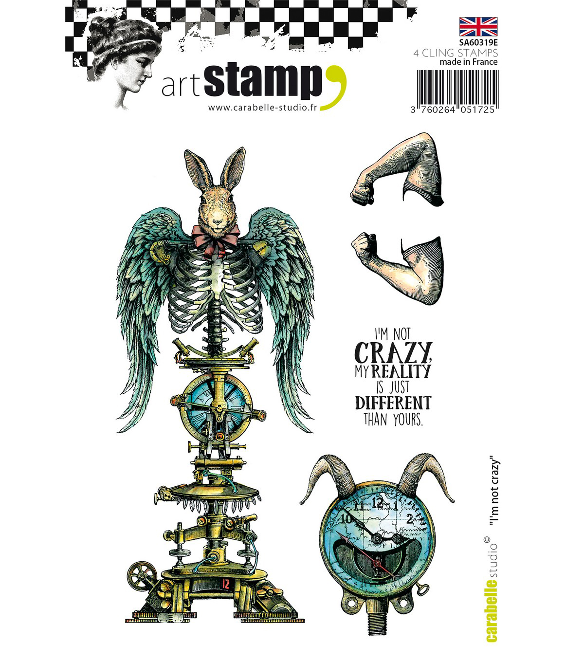Carabelle Studio 4 pk A6 Cling Stamps-I\u0027m Not Crazy