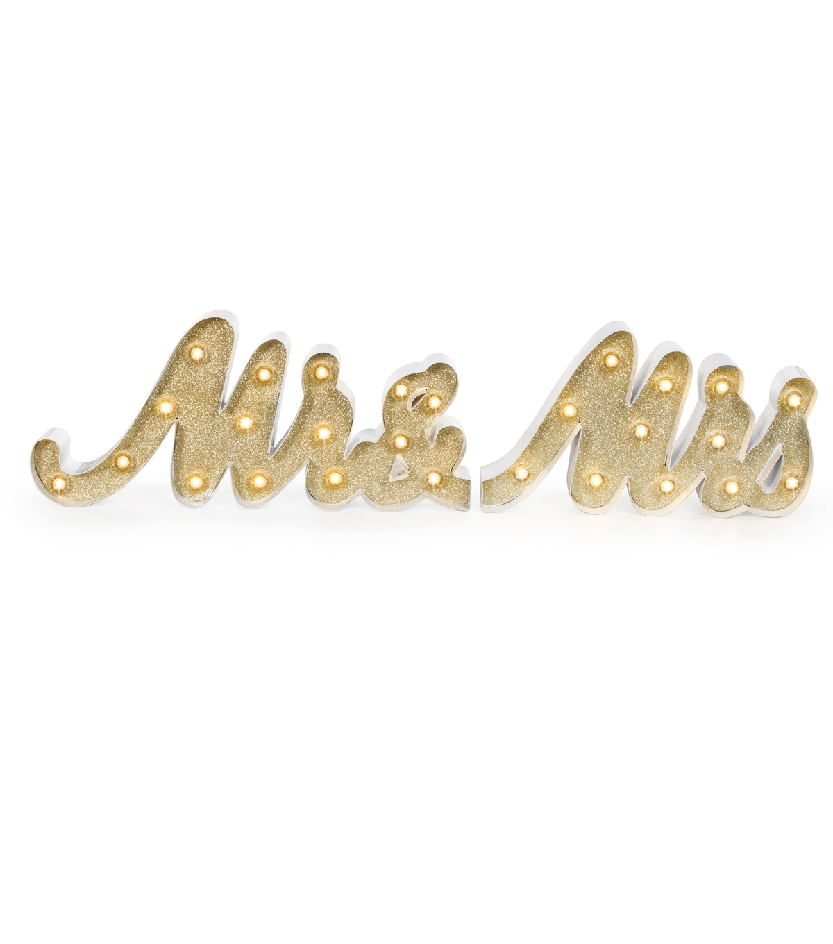 Save The Date Mr. & Mrs. LED Light-Gold Glitter