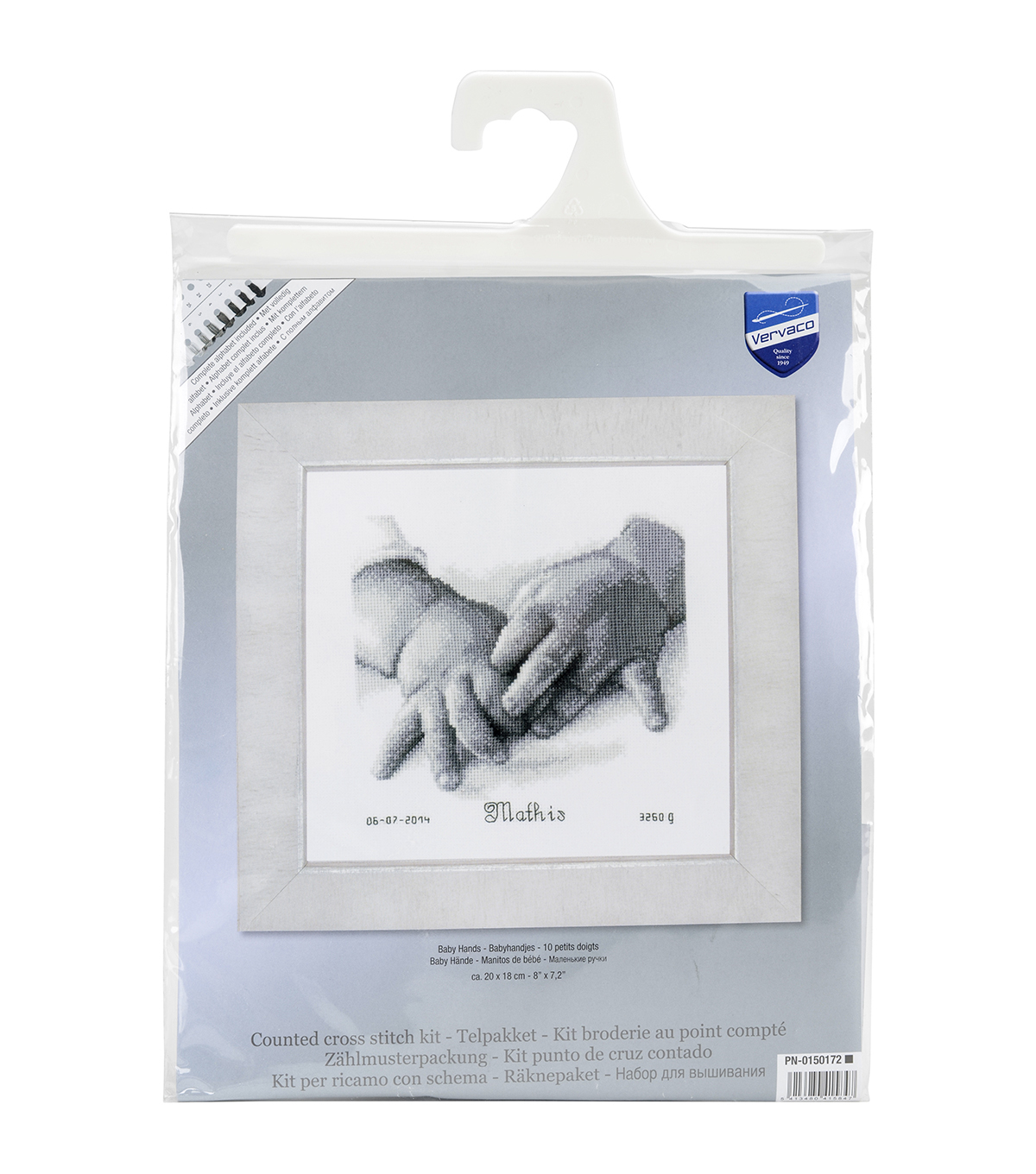 Vervaco Birth Record On Aida Counted Cross Stitch Kit-Baby Hands