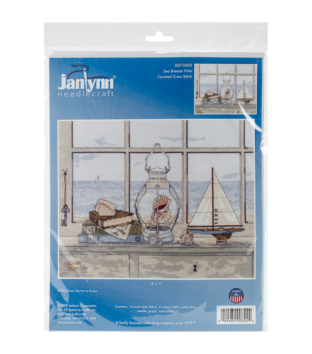 Janlynn 14\u0027\u0027x11\u0027\u0027 Counted Cross Stitch Kit-Sea Breeze Vista