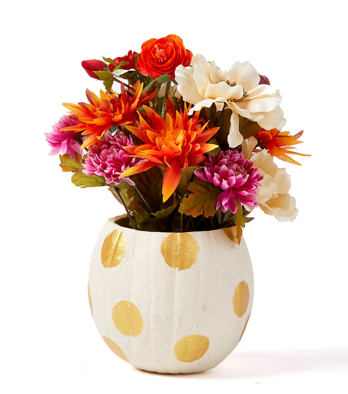 How to make a floral pumpkin centerpiece joann how to make a floral pumpkin centerpiece izmirmasajfo