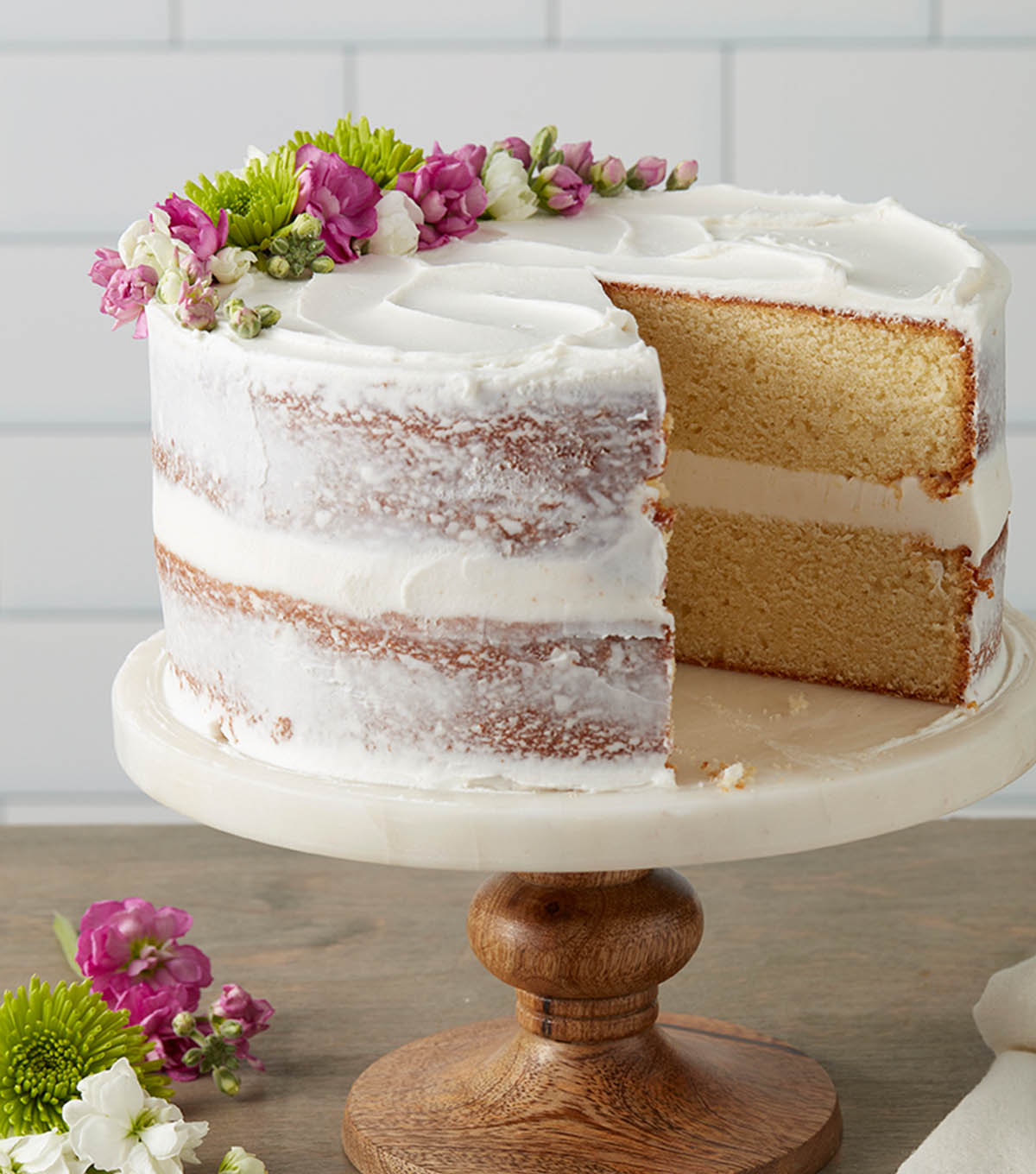 Make a classy white butter cake with edible flowers joann make a classy white butter cake with edible flowers mightylinksfo