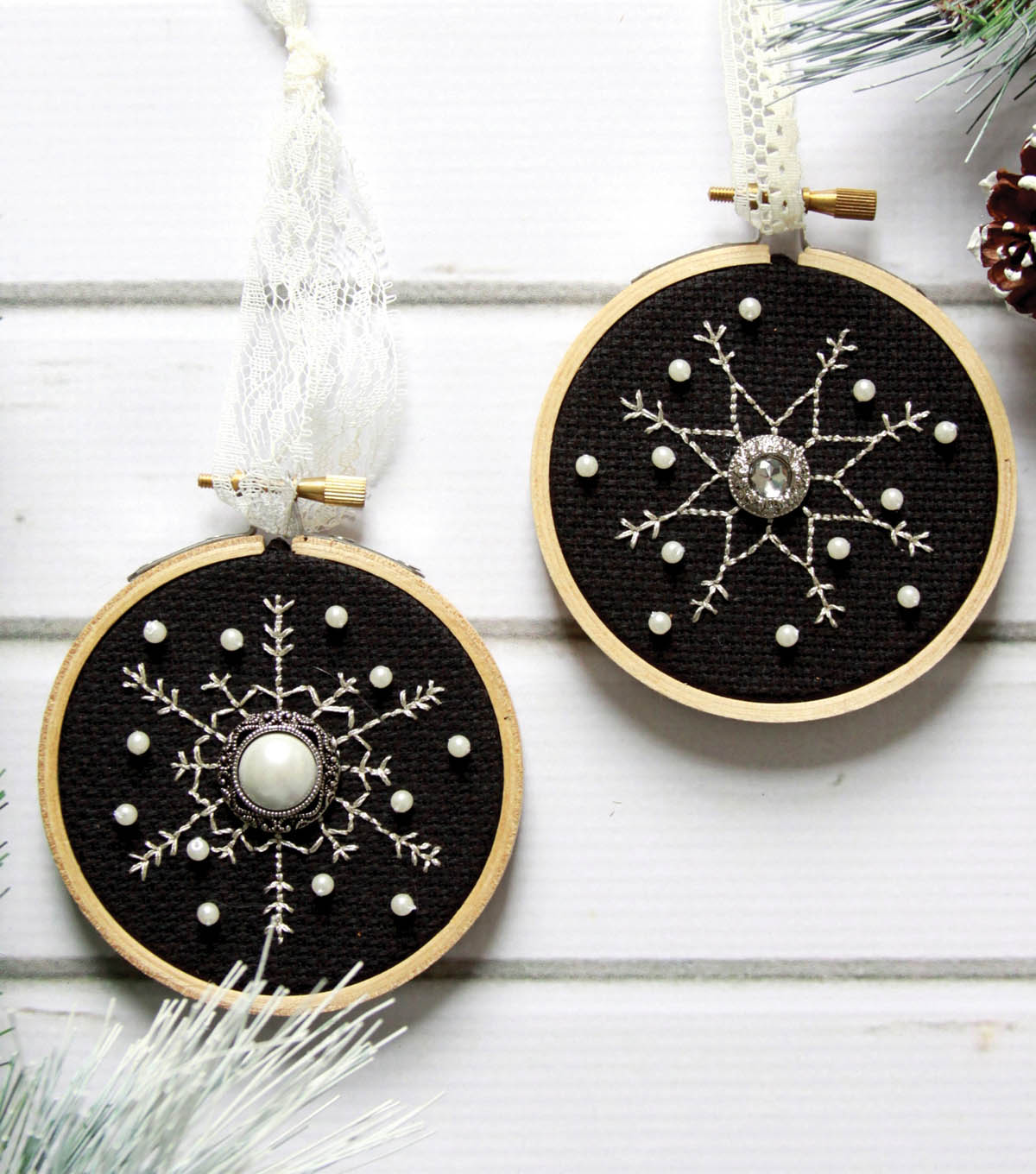 Stitched Snowflake Ornaments