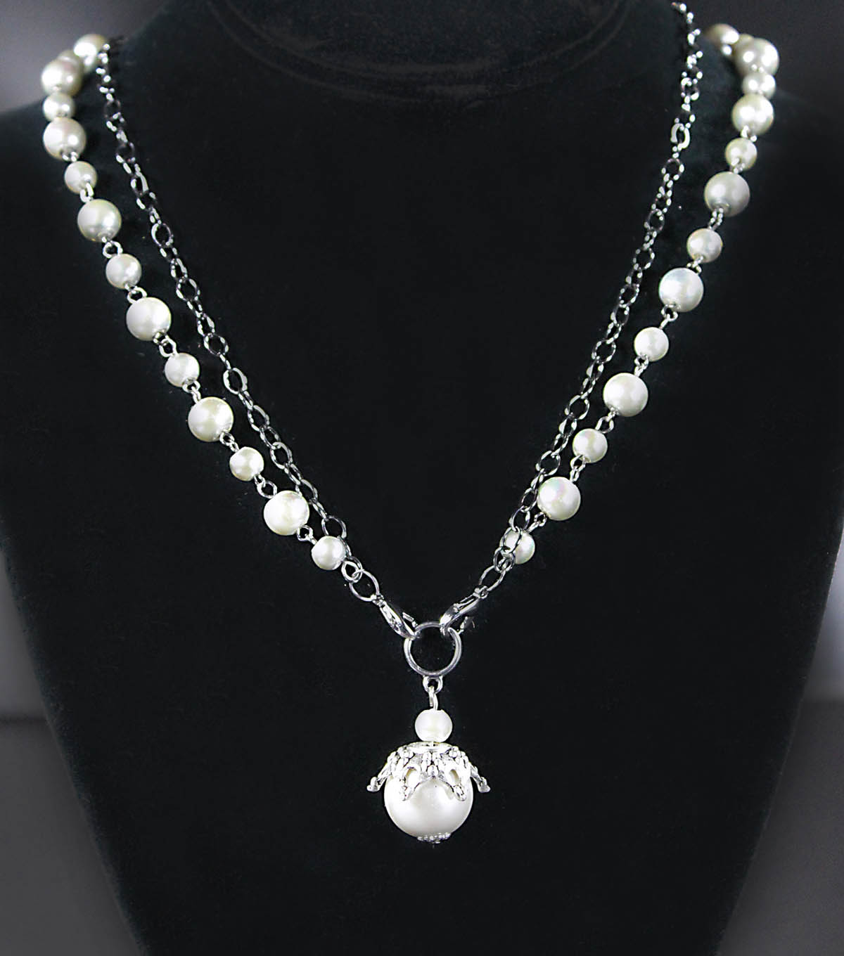 Pearl and Gun Metal Necklace